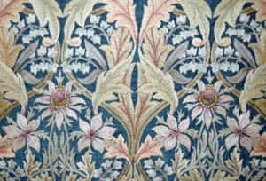 Detail of 'Bluebell' designed by William Morris stitched by the Leek Embroidery Society